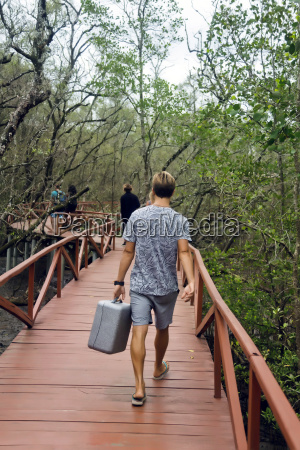 rear view of man walking on