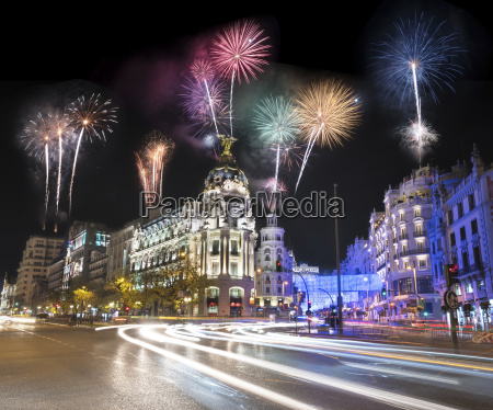 spain madrid firework display at night
