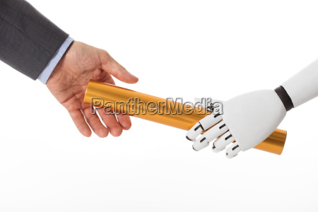 robot hand giving baton to businessperson