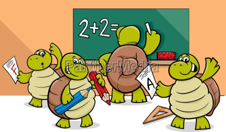 turtle cartoon characters in classroom