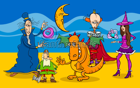 cartoon fantasy characters group