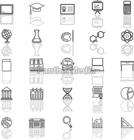 bildungslinie ikonen mit denken ueber weissen
