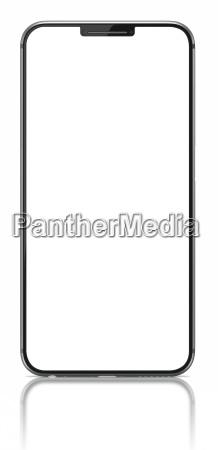 smartphone mit leerem bildschirm auf weiss