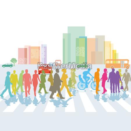 group of people on the crosswalk