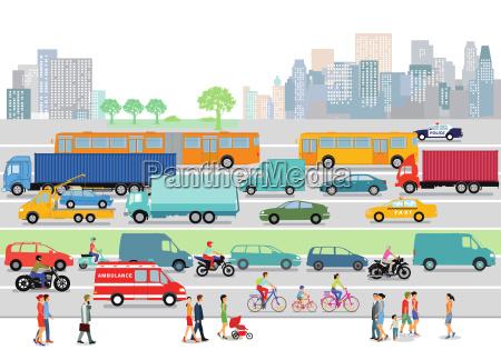 grosse stadt mit strassenverkehr und fussgaenger