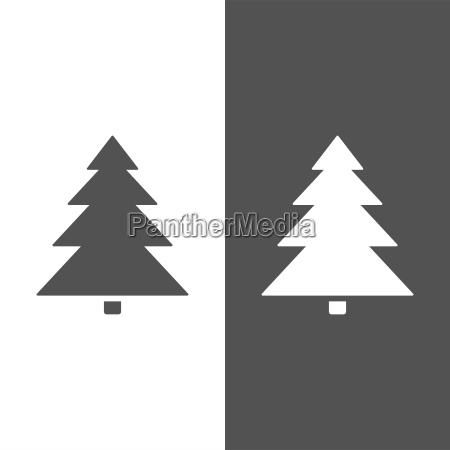 isolierte weihnachtsbaum ikone auf schwarz weissem