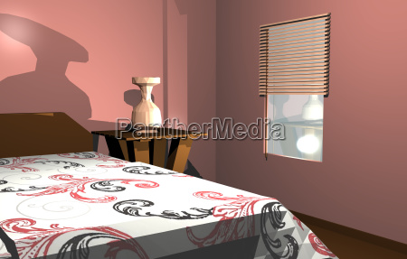 schlafzimmer mit bett und jalousie am