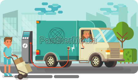 electric delivery van picking up packages