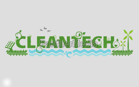 illustrated cleantech industry title showing solar