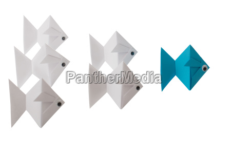 paper fishes behind blue fish