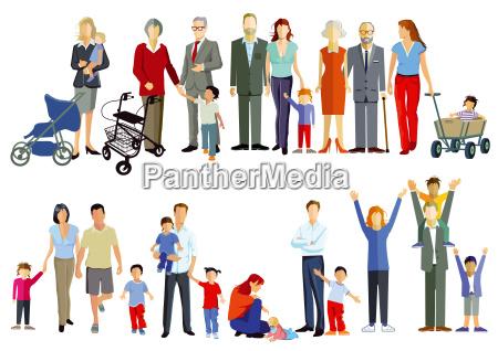 gruppenbild von familien generation beisammen illustration