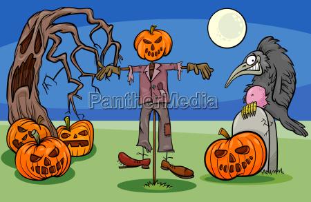 halloween cartoon spooky characters group