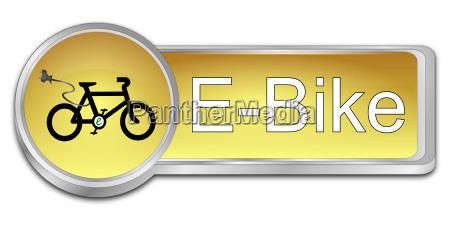 goldener e bike button 3d illustration
