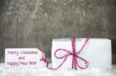 white gift snow label text merry