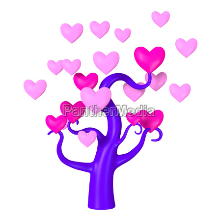 3d rendering heart tree on white