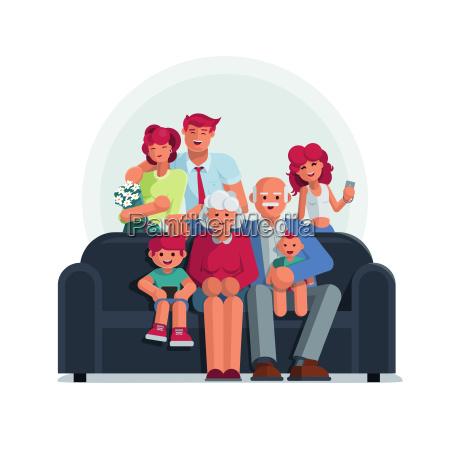 glueckliches grosses familienportrait