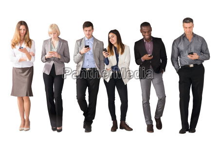 multi ethnic business people using cell