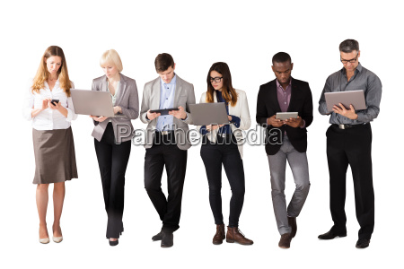 group of business people using electronic