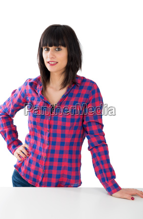 attractive young woman in a checkered