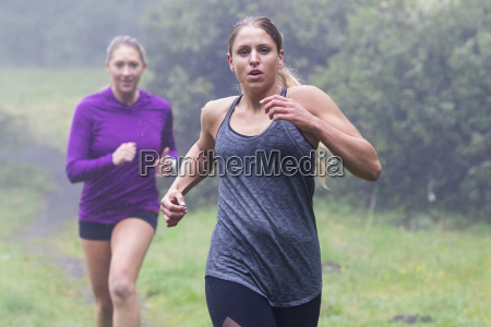 front view of two female joggers