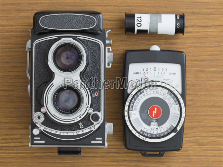 vintage camera with film