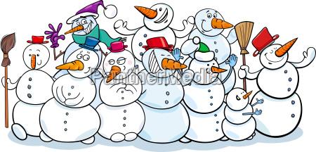 happy snowmen group cartoon illustration