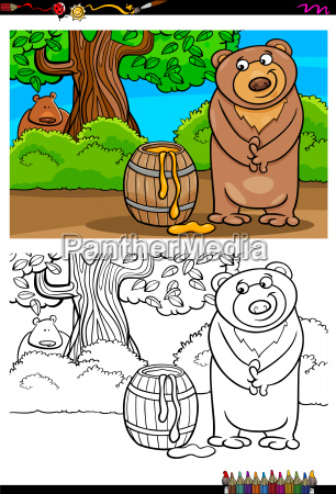 cartoon bear with honey coloring book