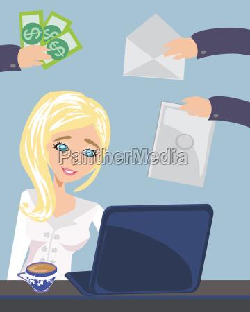 besetzt sekretaerin frau die ihre arbeit