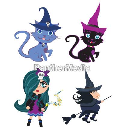 hexen und katzen set