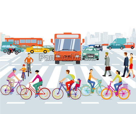 city with cyclists and road trafficillustration