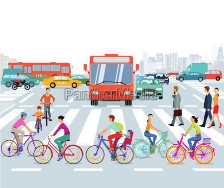 stadt mit radfahrer und strassenverkehr illustration