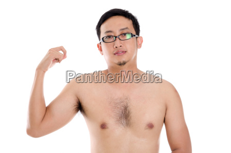 asian man showing muscle