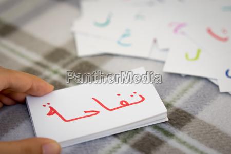 arabisch lernen des neuen wortes mit