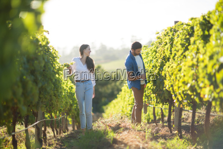 man and woman standing by plants