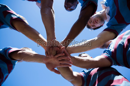 low angle view of rugby team