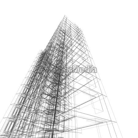architecture 3d rendering scene