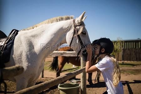 maedchen kuesst das weisse pferd in