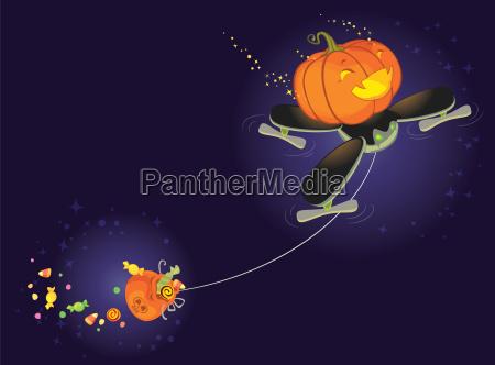 der niedliche halloween kuerbisflug auf einer