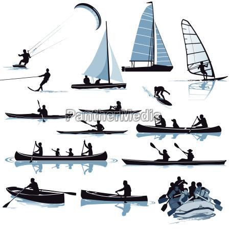 diverse wassersport arten illustration