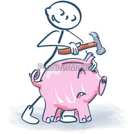 Strichmännchen Schlachtet Ein Sparschwein Mit Dem Lizenzfreies