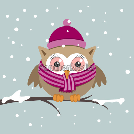 female owl with scarf on a