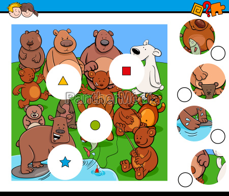 match pieces puzzle with bear animals