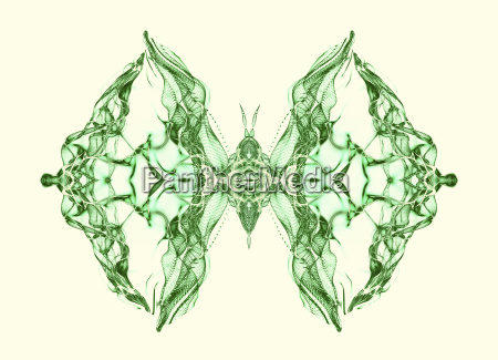abstract conceptual design green butterfly over