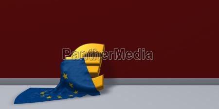 eurosymbol und flagge der europaeischen union