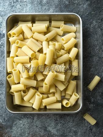 rustic uncooked italian rigatoni pasta