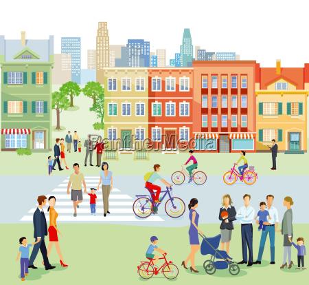 vorstadt mit fussgaenger und radfahrern