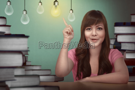 asian female student having idea