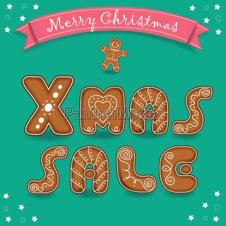 weihnachtsverkauf frohe weihnachten lebkuchen schriftart