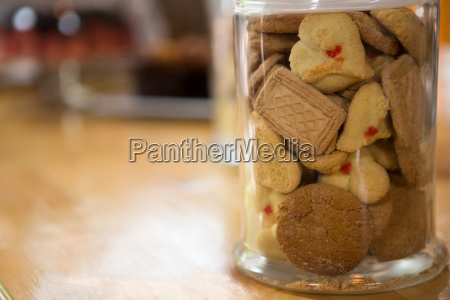 cookies in jar on counter at