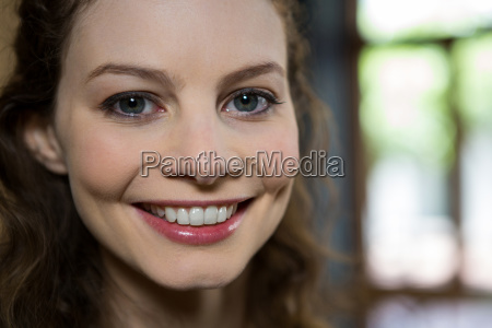 portrait of beautiful woman smiling in
